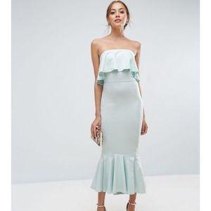 Asos Bandeau Ruffle Top Mermaid Hem Party Dress
